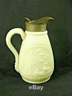 Rare Antique White Opaque / Milk Glass Molasses Jug / Syrup STORK & SWAN