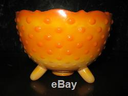 Rare Colororange Slag Smith Glass Footed Milk Glass Bowl