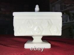 Rare FENTON White Milk Glass Honeycomb & HONEY BEE 4½ Square Candy Dish with Lid