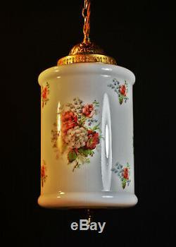 Rare Genuine 1940s art deco Opaline Milk Glass Schoolhouse Pendant Light lantern