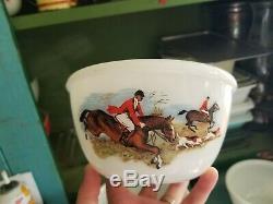 Rare HTF JAJ England Pyrex Vintage Tally Ho / Hunting Scene Bowl Set Complete
