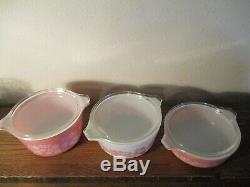 Rare HTF Pyrex Pink Gooseberry Casserole Set w Lids MINT