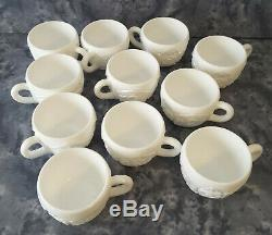 Rare Imperial Milk Glass Punch Bowl Set with 11Cups Mid Century