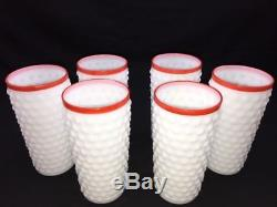 Rare Macbeth Evans Machob Kitchen Milk Glass Hobnail Pitcher Tumblers Water Set