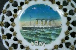 Rare RMS Olympic Souvenir Ribbon Plate Milk Glass Titanic White Star Line VTG