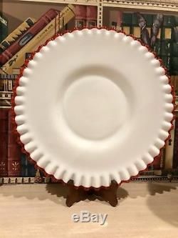Rare Vintage Fenton Flame Crest Red Cake Plate Stand Cup Cakes 12.5 Milk Glass