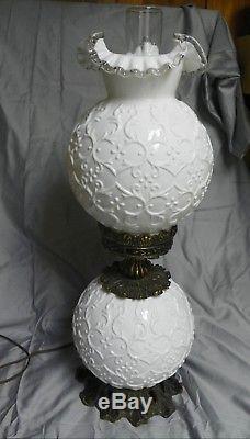 Rare Vintage Fenton hurricane electric lamp, milk glass 3 way light