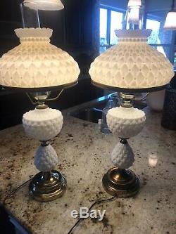 Rare Vintage GWTW White Milk Glass & Brass Hurricane Lamps-Set Of 2