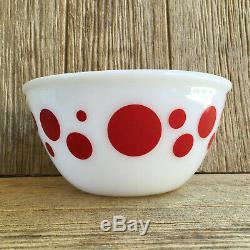 Rare Vintage Hazel Atlas Platonite Milk Glass Red Polka Dot Mixing Bowl 8