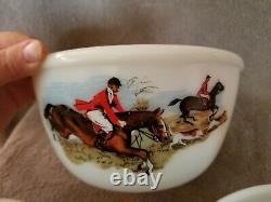 Rare Vintage Pyrex- HTF JAJ England Tally Ho Hunting Scene Complete 3 Bowl Set