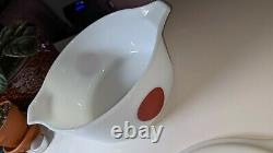 Rare Vintage Pyrex Moon Deco Bowl With Lid White Black Red Dot 475-B Casserole