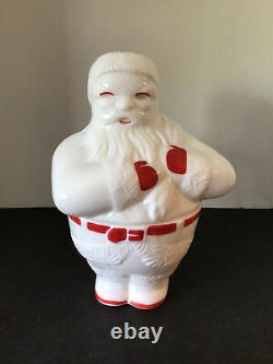 Rare Vtg Fostoria American Milk Glass Santa Claus Cookie Jar Holding Toy Sack
