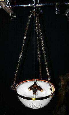 Rare early 1930s art deco moonstone opaline milk glass plafonier pendant light
