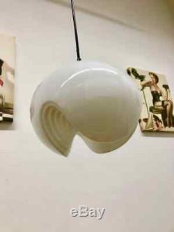 Rega2 Peill & Putzler Biomorphic Pendant Light Milk Glass Wave Koch Lowy 1960s