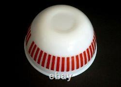 Retro HAZEL ATLAS 3 Piece Red Candy Stripe mixing bowl set milk glass MCM nice