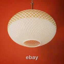 Retro oval opaline opal milk glass globe pendant light with gold band