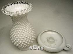 SCARCE Fenton Royal Hobnail Hurricane Lamp 2 pc Silver Crest & Milk Glass 3998SC