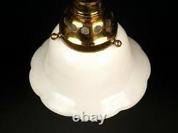 SET 4 Antique 1890s White Milk Glass Shade Pendant Light Ceiling Fixtures 2-PAIR