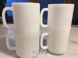 SET of 4Vintage Glasbake Glassbake Cherry/Cherries Mug/Cup Milk Glass STACKABLE