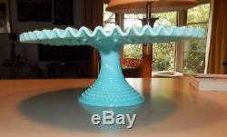 Scarce Vintage Fenton Hobnail Turquoise Milk Glass Footed Cake Plate / As Is