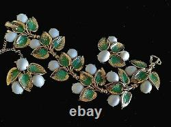Schiaparelli White Milk Glass Green Enamel Gold Plated Leaf Cluster Bracelet