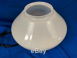 School Light Fixture Art Deco MCM White Milk Glass Globe Shade 16 VTG Antique