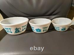 Set 7,6,5 HAZEL ATLAS Colonial KITCHEN AIDS TURQUOISE Nesting Mixing Bowl pyrex