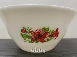 Set Of Four (4) McKee Glass Co. Red Amaryllis Hibiscus Floral Bell Bowls