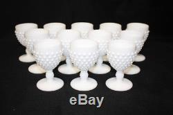 Set of 12 Vintage FENTON Hobnail White Milk Glass 4 Wine Glasses MINT