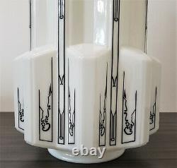 Set of 2 Vintage Milk Glass Art Deco Skyscraper Light Covers / Shades 17
