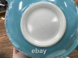 Set of 4 Pyrex Amish Butterprint Cinderella Nesting Mixing Bowls Teal