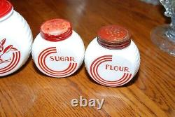 Set of 6 Anchor Hocking Fire King Vitrock Grease Canister Jars