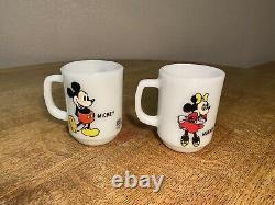 Set of 8 Vintage Anchor Hocking / Fire King Milk Glass Disney Cartoon Mugs 1986