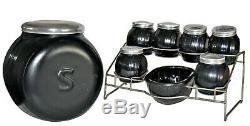 Sneath / Sellers BlackFlashed Canister /Spice Set in Rack With Salt Box