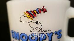Snoopy Home Ice Coffee MUG CUP Advertising Fire King / Anchor Hocking