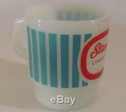 Stuckey's Coffee Club Mug Anchor Hocking Fire King Milk Glass Aqua Stripes Red