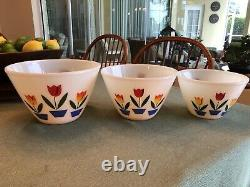Three Vintage Fire King Tulip Mixing Bowls