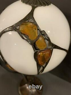Tiffany Style Witraz Natural Amber And Milk Glass Globe Lamp Brass Poland Signed