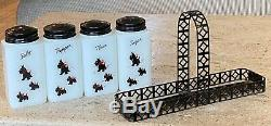 Tipp City USA Scottie Dogs Milk Glass Range Shaker Set in Black Lattice Caddy