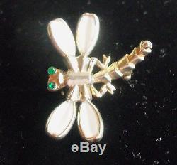 Trifari White Milk Glass Flower Clip Earrings And Dragon Fly Brooch Estate Jew