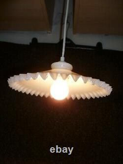 Two Vintage French Art Deco, Crimped Edge Milk Glass Pendant Light Fittings