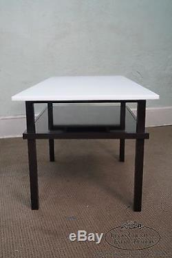 Unusual Mid Century Lacquer Base Console Table with Floating White Milk Glass Top