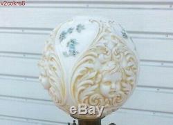 VICTORIAN GWTW MILK GLASS ANGEL CHERUB FACE BALL SHADE banquet oil lamp globe
