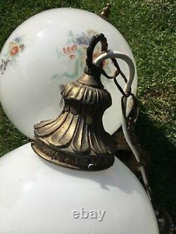VINTAGE ART DECO RETRO MILK GLASS GLOBE LAMP/LIGHT SHADE PENDANT Mid Century