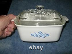 VINTAGE CORNING WARE BLUE CORNFLOWER, P-4-B 1 1/2 QT. RARE STAMP EARLY DAYS WithLID