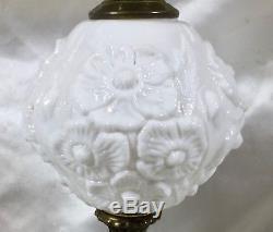VINTAGE FENTON ART GLASS WHITE MILK GLASS POPPY PATTERN 21 Lamp Marble Base