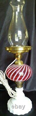 VINTAGE FENTON CRANBERRY OPALESCENT SWIRL OIL LAMP WithMILK GLASS BASE CONVERTED