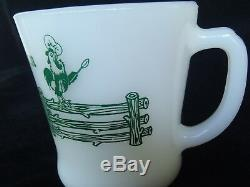 VINTAGE FIRE KING MILK GLASS COFFEE MUG WHITE FENCE FARM with ROOSTER RARE