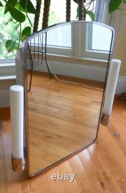 VINTAGE MEDICINE CABINET MILK GLASS TUBE SIDE LIGHTS With OUTLET & GLASS SHELVES