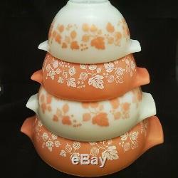 VINTAGE PYREX Gooseberry Cinderella Mixing Bowls Set of 4 Excellent Shape